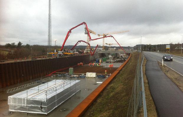 Levering af beton til motorvej
