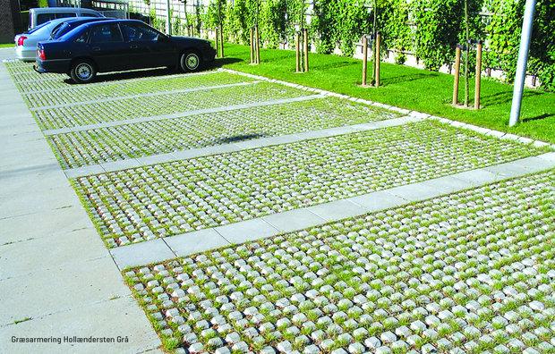 Græsarmeringsfliser ved parkeringsplads